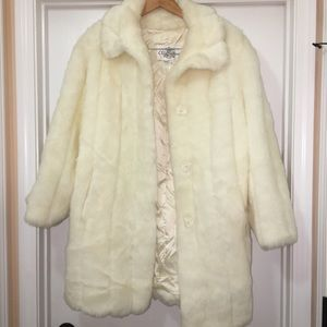 Oleg Cassini Vintage Snow White Long Faux Fur Coat